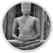 Stone Buddha Round Beach Towel by Adam Romanowicz
