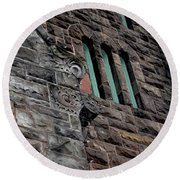 Stone Building Facade With Trefoil Window And Carved Detail Round Beach Towel