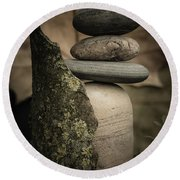 Stone Cairns IIi Round Beach Towel