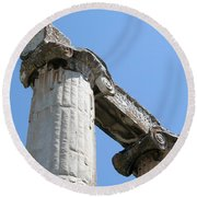 Stone Carved Columns At The Temple Of Aphrodite  Round Beach Towel