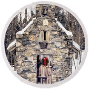 Stone Chapel In The Woods Trapp Family Lodge Stowe Vermont Round Beach Towel by Edward Fielding