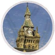 Stone Clock Tower Round Beach Towel