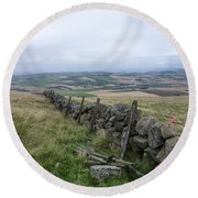 Old Dry Stacked Stone Fence Of Scotland Round Beach Towel