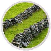 Stone Fences In Ireland Round Beach Towel