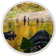 Stone Gods Of The River Round Beach Towel