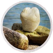 Stone Heart  Round Beach Towel