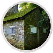 Stone House With Mossy Roof Round Beach Towel