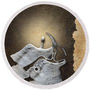 Stone Men 29 - Love Rythm Round Beach Towel by Variance Collections