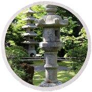 Stone Pagoda And Lantern Round Beach Towel