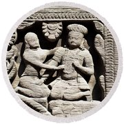 Stone Relief In Patan's Durbar Square Round Beach Towel