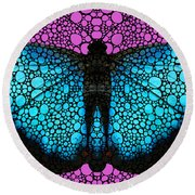 Stone Rock'd Butterfly 2 By Sharon Cummings Round Beach Towel