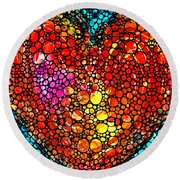 Stone Rock'd Heart - Colorful Love From Sharon Cummings Round Beach Towel