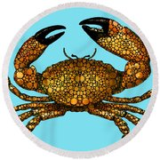 Stone Rock'd Stone Crab By Sharon Cummings Round Beach Towel