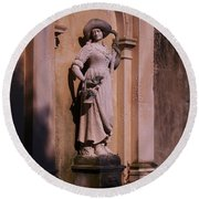 Stone Statue Woman  Round Beach Towel