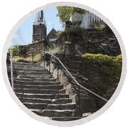 Stone Steps And Saint Peters Church At Harpers Ferry Round Beach Towel