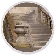 Stone Steps National Cathedral Round Beach Towel