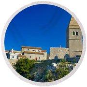 Stone Town Of Lubenice In Croatia Round Beach Towel