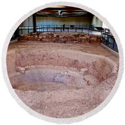 Stone Village-850 Ad In A Protective Shelter On The Mesa Top In Mesa Verde National Park-colorado Round Beach Towel