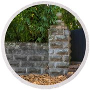 Stone Wall And Gate Round Beach Towel
