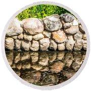 Stone Wall Reflection Round Beach Towel
