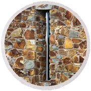 Stone Wall-small Window Round Beach Towel