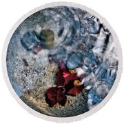 Stones And Fall Leaves Under Water-41 Round Beach Towel