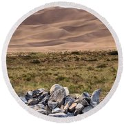 Stones And Sand Round Beach Towel