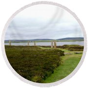 Stones In Arc Of Ring Of Brodgar Round Beach Towel