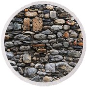 Stones Wall Round Beach Towel