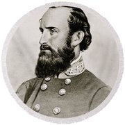 Stonewall Jackson Confederate General Portrait Round Beach Towel