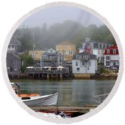 Stonington Harbor 2 Round Beach Towel