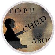 Stop Child Abuse Round Beach Towel
