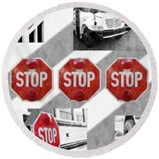 Stop For Students Painterly Bw Red Signs Round Beach Towel