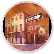 Stop- French Quarter Ahead Round Beach Towel