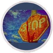 Stop Round Beach Towel