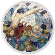 Stop The Draft Mural Berkeley Ca 1977 Round Beach Towel