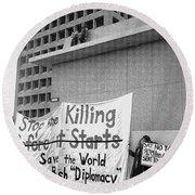 Stop The Killing Say No To Israel Anti-war Protestors Tucson Arizona 1991 Round Beach Towel