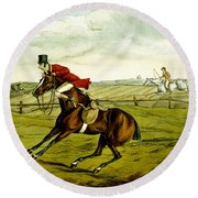 Stopping At Water From Qualified Horses And Unqualified Riders Round Beach Towel