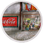 Store Front - Life Is Good Round Beach Towel by Mike Savad