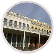 Store Fronts Old Sacramento Round Beach Towel