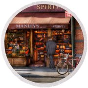 Store - Wine - Ny - Chelsea - Wines And Spirits Est 1934  Round Beach Towel by Mike Savad