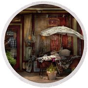 Storefront - Frenchtown Nj - The Boutique Round Beach Towel by Mike Savad