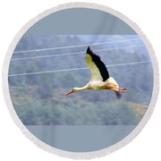 Stork In Flight Round Beach Towel