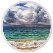 Storm Across The Channel Round Beach Towel