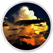 Storm At Dusk Round Beach Towel