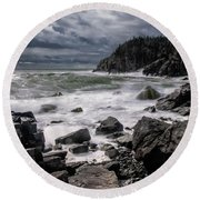 Storm At Gulliver's Hole Round Beach Towel