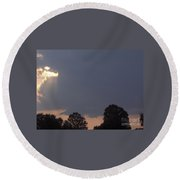 Storm At Sunset Round Beach Towel