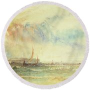 Storm At Sunset, Venice, C.1840 Round Beach Towel