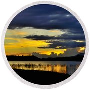 Storm At The Lake Round Beach Towel