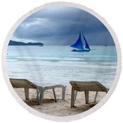 Stormy Beach - Boracay, Philippines Round Beach Towel